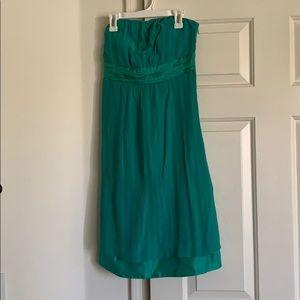 Strapless green Anthropologie dress